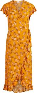 Sukienka Vila z dekoltem w kształcie litery v z krótkim rękawem midi