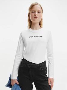 Bluzka Calvin Klein z okrągłym dekoltem z bawełny z długim rękawem