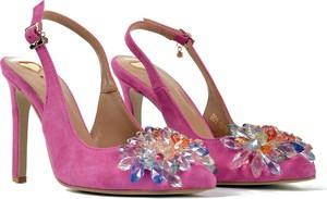 Różowe sandały R.Polański na szpilce z klamrami