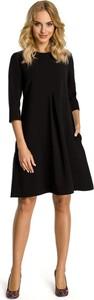 Czarna sukienka MOE midi w stylu casual trapezowa