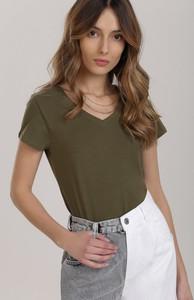 Zielony t-shirt Renee z krótkim rękawem