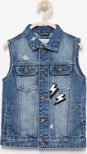 Granatowa kamizelka dziecięca Reserved z jeansu