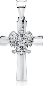 Valerio Srebrny wisiorek wisior patriotyczny krzyżyk krzyż orzeł w koronie godło orzełek srebro 925 GKD079