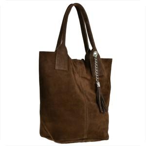 Brązowa torebka Borse in Pelle w stylu casual duża