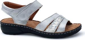 Srebrne sandały ARTIKER RELAKS z zamszu z płaską podeszwą