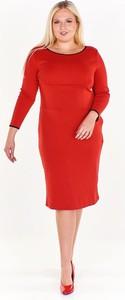 Czerwona sukienka Fokus z okrągłym dekoltem