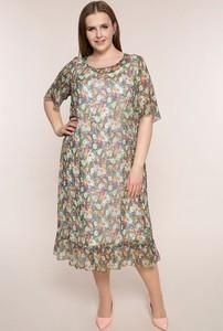Sukienka modneduzerozmiary.pl z krótkim rękawem z okrągłym dekoltem z szyfonu