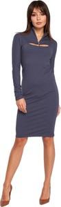 Granatowa sukienka Be z dekoltem w kształcie litery v midi