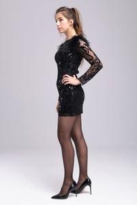 Czarna sukienka Butik Ecru z długim rękawem dopasowana