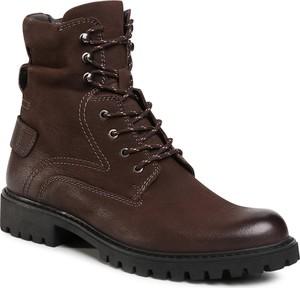 Brązowe buty zimowe Quazi sznurowane w militarnym stylu
