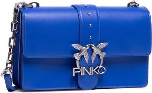 Niebieska torebka Pinko ze skóry na ramię średnia