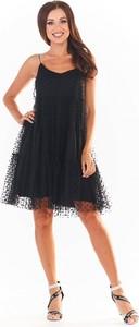 Czarna sukienka Awama z dżerseju na ramiączkach