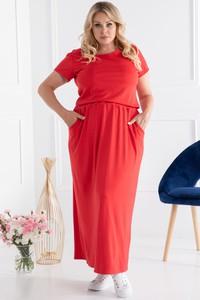 Czerwona sukienka KARKO hiszpanka prosta maxi