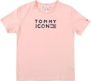 Różowa bluzka dziecięca Tommy Hilfiger z bawełny
