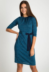 Niebieska sukienka QUIOSQUE mini z okrągłym dekoltem