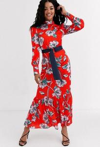 Czerwona sukienka Liquorish maxi z długim rękawem
