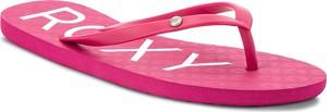 Różowe klapki Roxy z płaską podeszwą w sportowym stylu