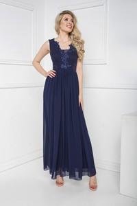 Niebieska sukienka Marcelini z szyfonu