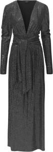 Czarna sukienka RAVN z długim rękawem z dekoltem w kształcie litery v maxi