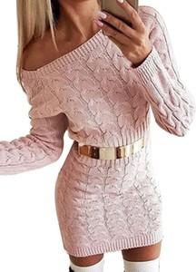 Różowa sukienka Arilook z długim rękawem