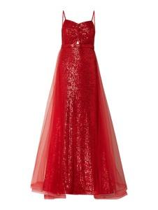 Czerwona sukienka Troyden Collection z tiulu maxi