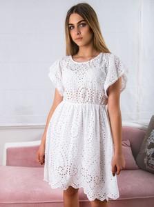 7e86ed2fbd biala sukienka pikowana - stylowo i modnie z Allani