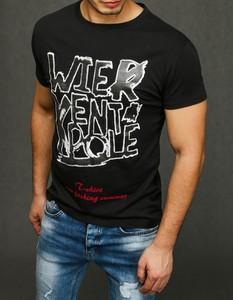 Czarny t-shirt Dstreet z nadrukiem z krótkim rękawem z bawełny
