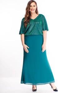 Zielona sukienka N/A maxi dla puszystych z krótkim rękawem