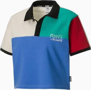Niebieska bluzka Puma z krótkim rękawem z okrągłym dekoltem z bawełny