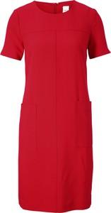 Sukienka Heine z okrągłym dekoltem prosta z krótkim rękawem