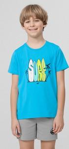 Niebieska koszulka dziecięca 4F z dzianiny z krótkim rękawem