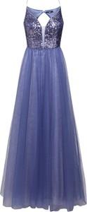 Niebieska sukienka VM Vera Mont rozkloszowana bez rękawów