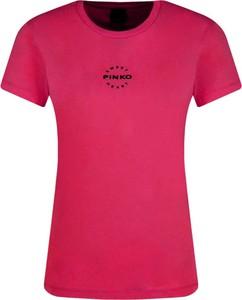 Czerwony t-shirt Pinko z okrągłym dekoltem w stylu casual