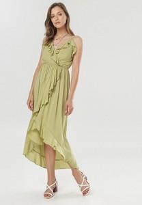 Zielona sukienka born2be maxi z dekoltem w kształcie litery v