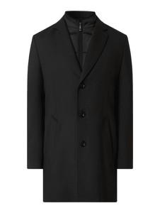 Czarny płaszcz męski Bugatti z wełny