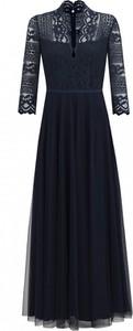 Granatowa sukienka POTIS & VERSO z długim rękawem rozkloszowana maxi