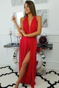 Czerwona sukienka fashion-freak.pl bez rękawów z dekoltem w kształcie litery v
