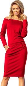 Czerwona sukienka NUMOCO z tkaniny midi hiszpanka