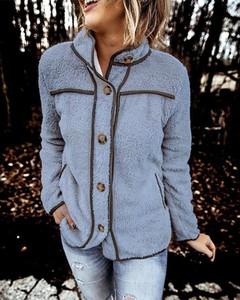 Niebieska kurtka Kendallme w stylu casual z bawełny krótka