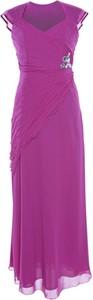 Różowa sukienka Fokus z krótkim rękawem z dekoltem w kształcie litery v asymetryczna
