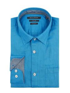 Niebieska koszula Marc O'Polo z klasycznym kołnierzykiem z długim rękawem z lnu