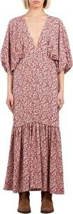 Różowa sukienka Weili Zheng z dekoltem w kształcie litery v maxi