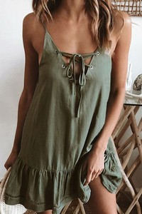 Zielona sukienka IVET oversize mini na ramiączkach