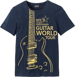 Granatowy t-shirt bonprix rainbow z krótkim rękawem w młodzieżowym stylu