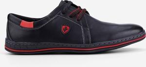 Czarne półbuty Yourshoes ze skóry sznurowane