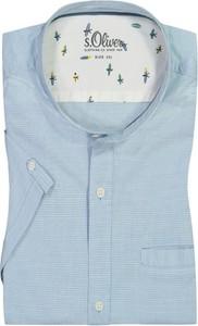 Niebieska koszula S.Oliver z krótkim rękawem z bawełny