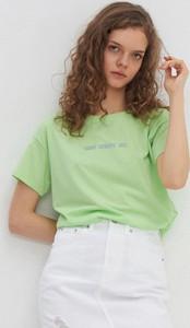Zielona bluzka House z okrągłym dekoltem z krótkim rękawem