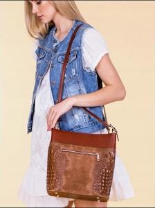 Brązowa torebka Rovicky na ramię w stylu retro ze skóry