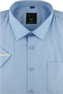 Niebieska koszula Laviino z tkaniny z krótkim rękawem z klasycznym kołnierzykiem