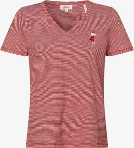T-shirt S.Oliver z krótkim rękawem z dekoltem w kształcie litery v